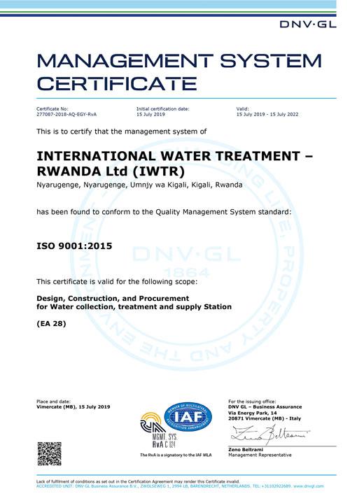 RWANDA Ltd (IWTR) - ISO 9001